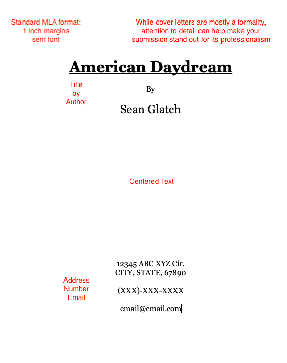cover sheet for poetry manuscript formatting