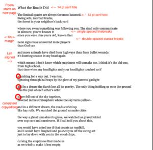 poetry manuscript format tips