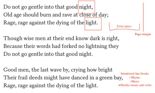 poetry vs. prose line breaks