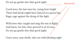 Stanza breaks: difference between prose and poetry